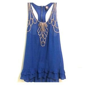 Free People Embellished Tunic Tank SZ 6 EUC